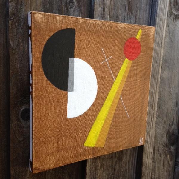 Side-View Szögek és körök- Tribute to László Moholy-Nagy Linda Cleary 2014 Acrylic on Canvas