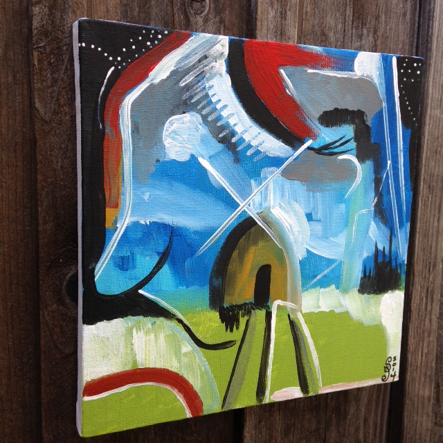 Side-View Windmill- Tribute to Peter Lanyon Linda Cleary- 2014 Acrylic on Canvas
