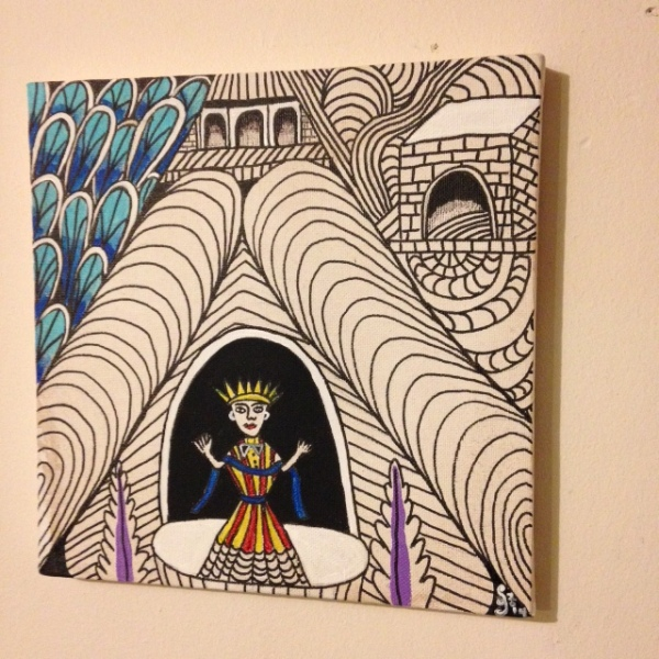 Side-View Untitled (Madonna in Tunnel)- Tribute to Martin Ramirez Linda Cleary 2014 Pen/Ink & Acrylic on Canvas