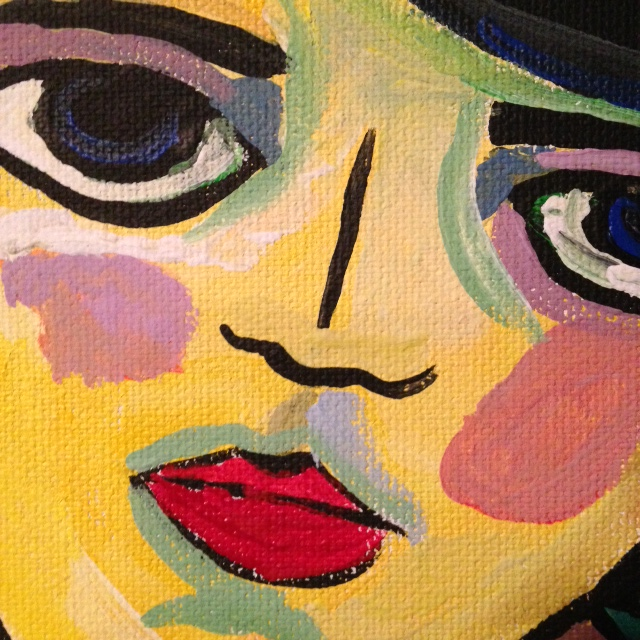 Close-Up 1 Self-Portrait- Tribute to Alexej von Jawlensky Linda Cleary 2014 Acrylic on Canvas
