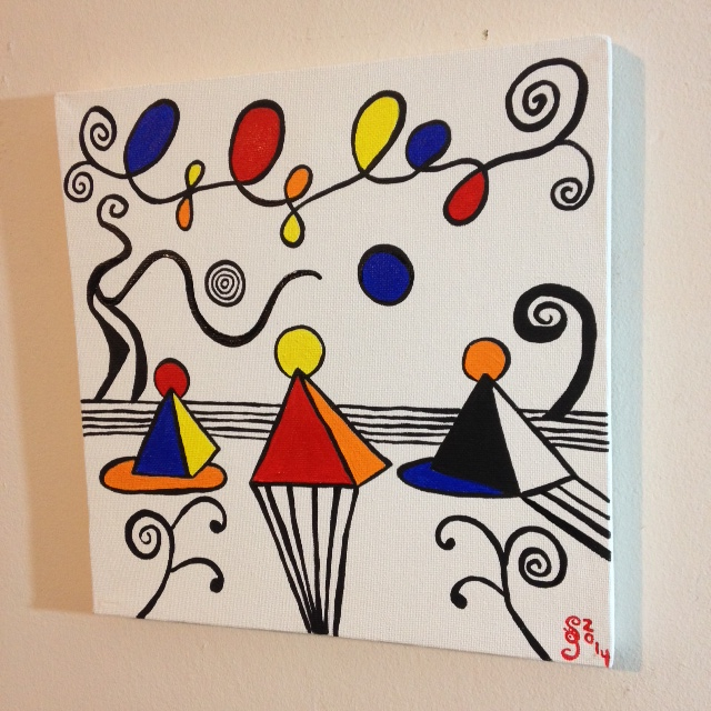 Side-View Magical Pyramids- Tribute to Alexander Calder Linda Cleary 2014 Acrylic on canvas