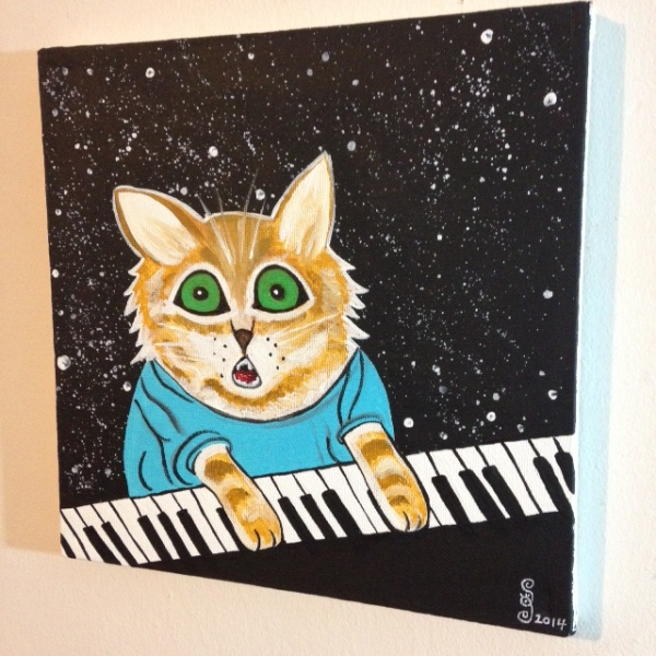 Side-View Keyboard Cat- Tribute to Louis Wain Linda Cleary 2014 Acrylic on Canvas