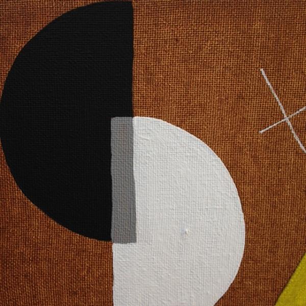 Close-Up 1 Szögek és körök- Tribute to László Moholy-Nagy Linda Cleary 2014 Acrylic on Canvas