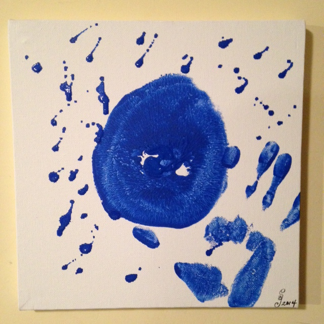 Mono-Boob- Tribute to Yves Klein Linda Cleary 2014 Acrylic on Canvas