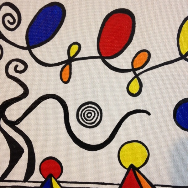 Close-Up 1 Magical Pyramids- Tribute to Alexander Calder Linda Cleary 2014 Acrylic on canvas