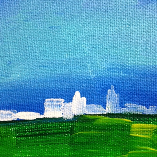Close-Up 1 Country meets City- Tribute to Nicolas de Staël Linda Cleary 2014 Acrylic on Canvas