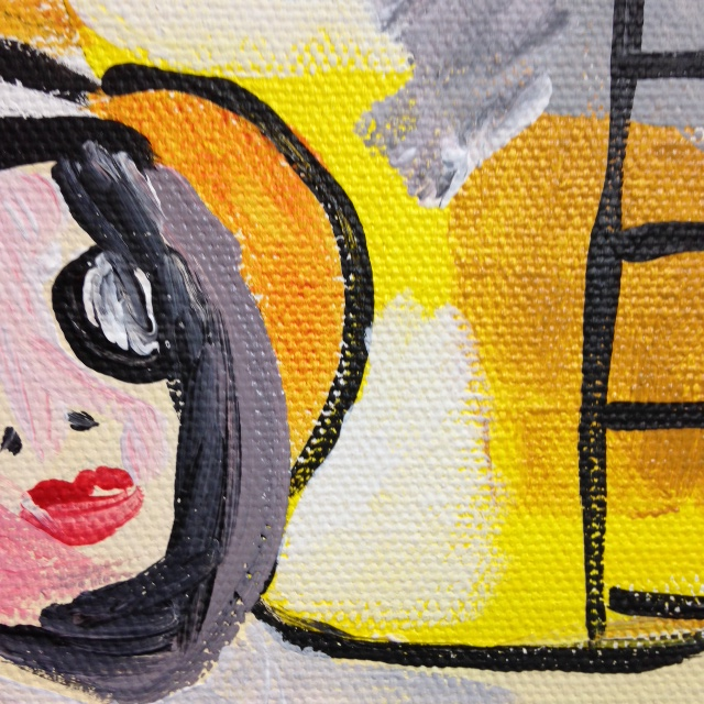 Close-Up 1 Two Women- Tribute to Willem De Kooning Linda Cleary 2014 Acrylic on Canvas