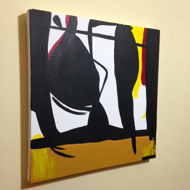 Side-View Recluse- Tribute to Robert Motherwell Linda Cleary 2014 Acrylic on Canvas