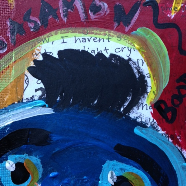 Close-Up 3 There are Secrets under Me and My Puppet- Tribute to Jean Michel Basquiat Linda Cleary 2014 Acrylic/Pen/Paper/Glue on Canvas