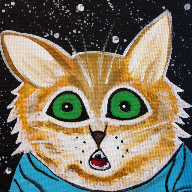 Close-Up 1 Keyboard Cat- Tribute to Louis Wain Linda Cleary 2014 Acrylic on Canvas
