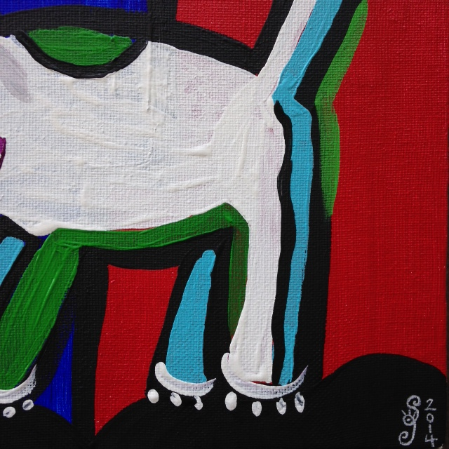 Close-Up 2 Taco Man- Tribute to Karel Appel Linda Cleary 2014 Acrylic on Canvas