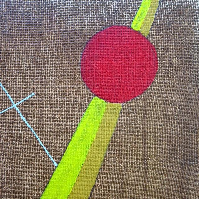 Close-Up 2 (This is the weird color one) Szögek és körök- Tribute to László Moholy-Nagy Linda Cleary 2014 Acrylic on Canvas
