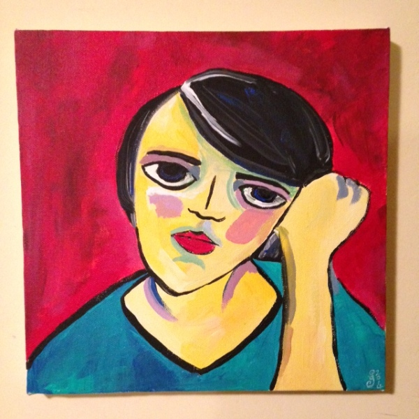 Self-Portrait- Tribute to Alexej von Jawlensky Linda Cleary 2014 Acrylic on Canvas