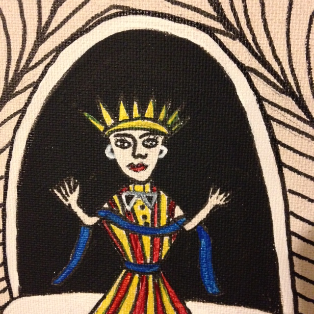 Close-Up 2 Untitled (Madonna in Tunnel)- Tribute to Martin Ramirez Linda Cleary 2014 Pen/Ink & Acrylic on Canvas