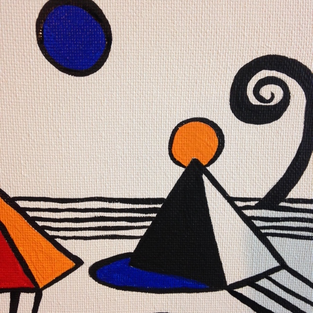 Close-Up 2 Magical Pyramids- Tribute to Alexander Calder Linda Cleary 2014 Acrylic on canvas