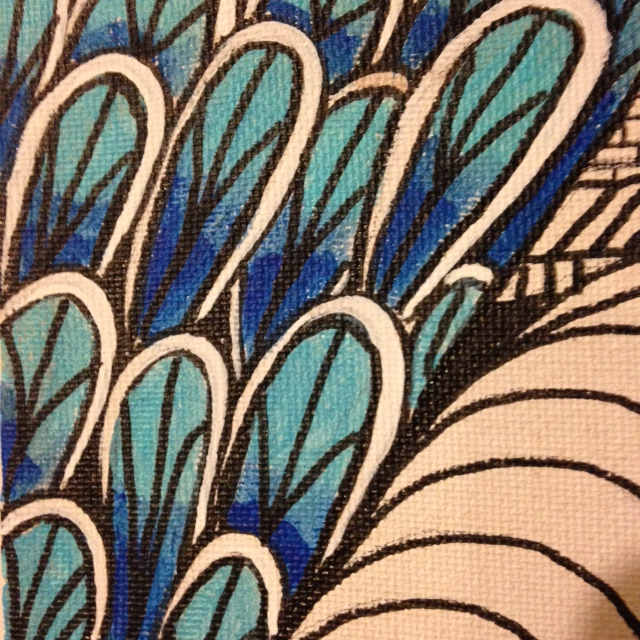 Close-Up 3 Untitled (Madonna in Tunnel)- Tribute to Martin Ramirez Linda Cleary 2014 Pen/Ink & Acrylic on Canvas