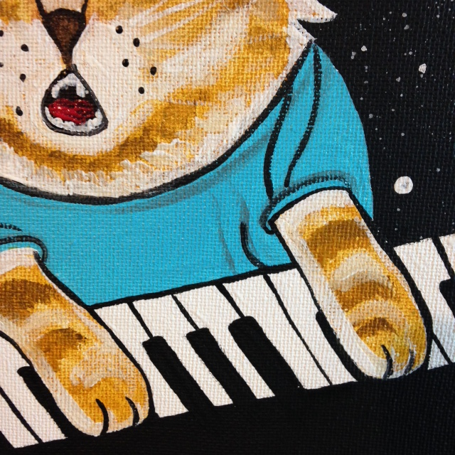 Close-Up 2 Keyboard Cat- Tribute to Louis Wain Linda Cleary 2014 Acrylic on Canvas