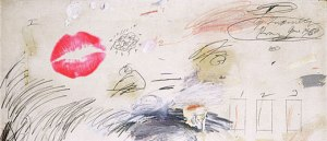 The infamous kiss on a Twombly piece!
