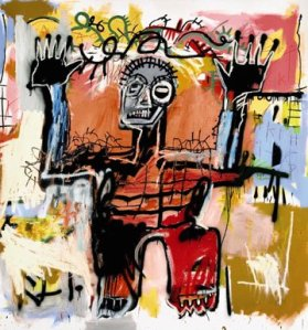 Untitled_acrylic,_oilstick_and_spray_paint_on_canvas_painting_by_--Jean-Michel_Basquiat--,_1981