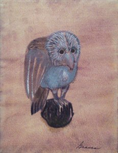 Owl on Globe, c. 1965. Tempera on Paper- Morris Graves
