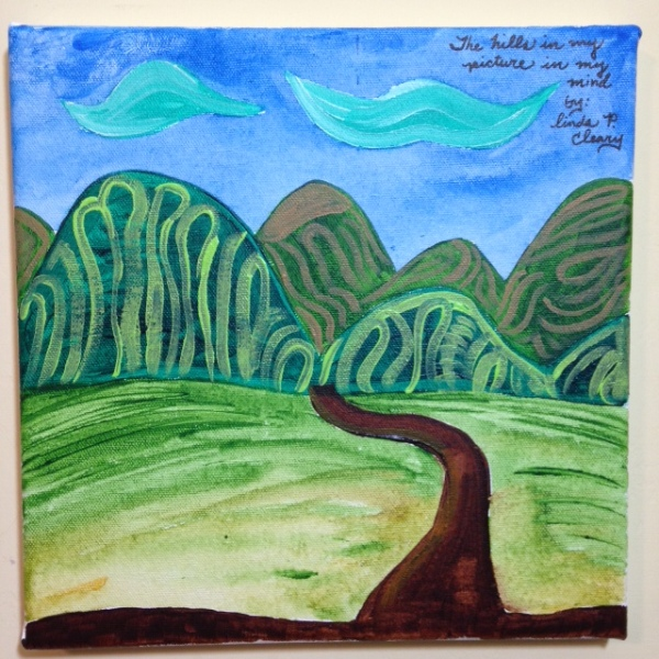 The Hills in my picture in my mind- Tribute to Joseph Yoakum Linda Cleary 2014 Acrylic on Canvas