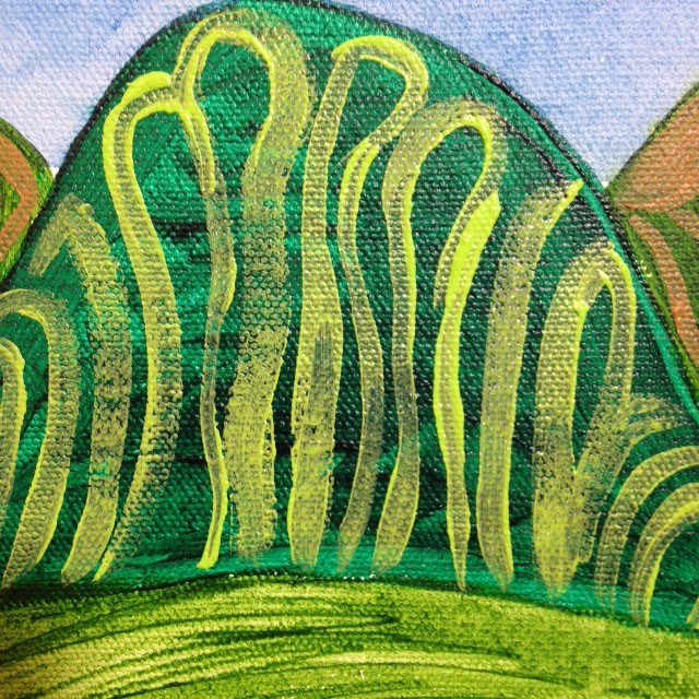 Close-Up 2 The Hills in my picture in my mind- Tribute to Joseph Yoakum Linda Cleary 2014 Acrylic on Canvas