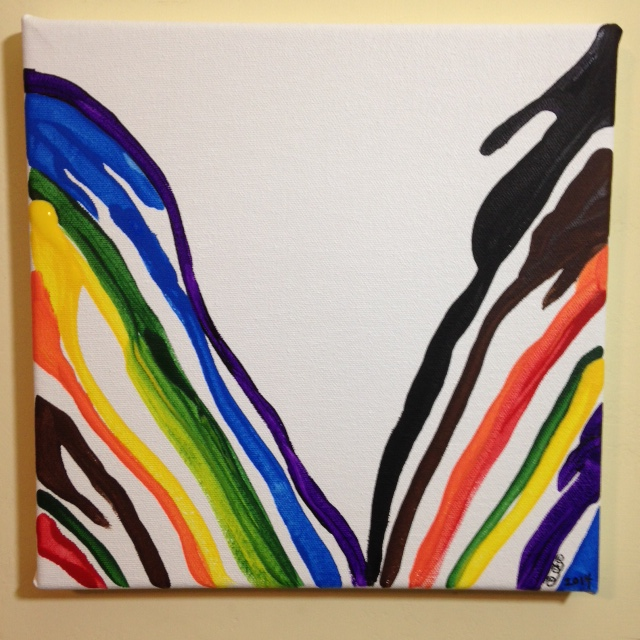 Gamma Rainbow- Tribute to Morris Louis Linda Cleary 2014 Acrylic on Canvas