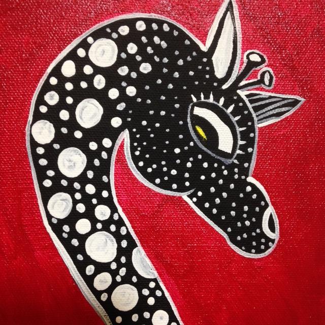 Close-Up 1 Antelope and Giraffe- Tribute to Edward Tingatinga Linda Cleary 2014 Acrylic on Canvas