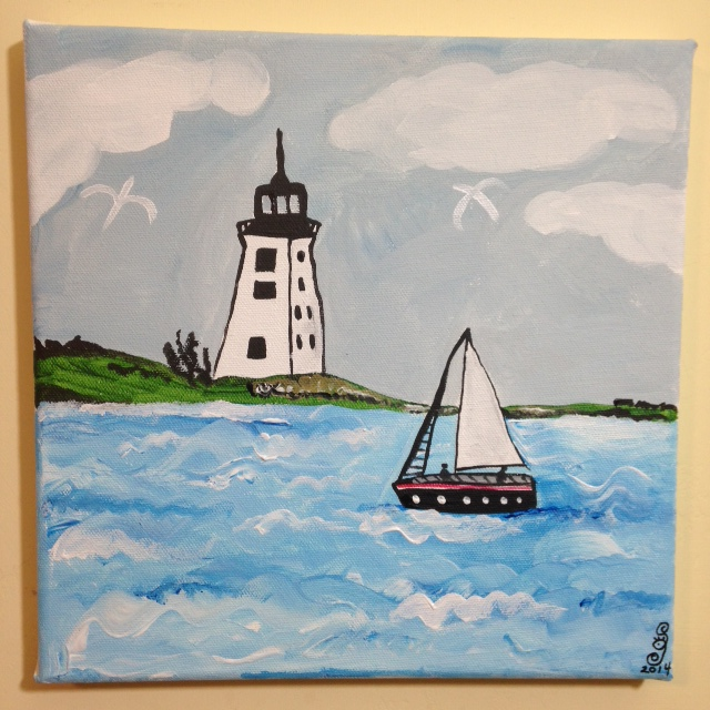 Sailing by the lighthouse- Tribute to Alfred Wallis Linda Cleary 2014 Acrylic on Canvas