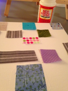 Mod-Podging fabric!  Relaxing actually...