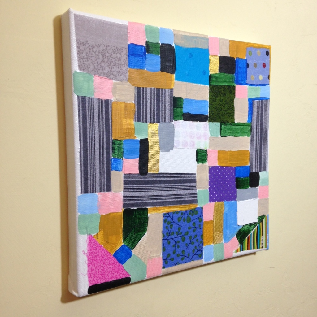 Side-View Collage 1- Tribute to Anne Ryan Linda Cleary 2014 Fabric, glue and Acrylic on Canvas