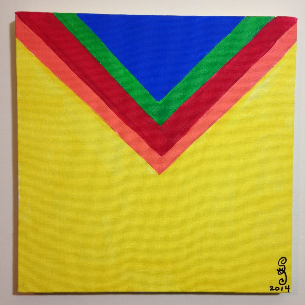 Rainbow Chevron- Tribute to Kenneth Noland Linda Cleary 2014 Acrylic on Canvas