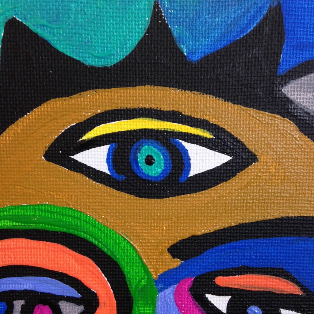 Close-Up 1 The Eyes See All- Tribute to Raquel Forner Linda Cleary 2014 Acrylic on Canvas