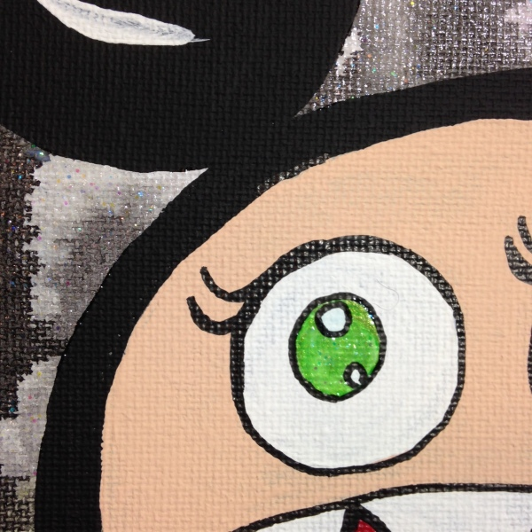 Close-Up 1 Glitter Time- Tribute to Takashi Murakami Linda Cleary 2014 Acrylic on Canvas