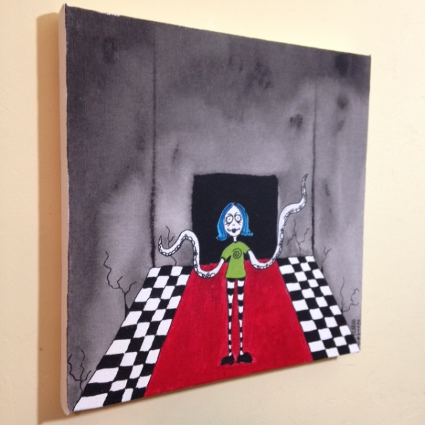 Side-View Tentacle Girl- Tribute to Tim Burton Linda Cleary 2014 Acrylic on Canvas