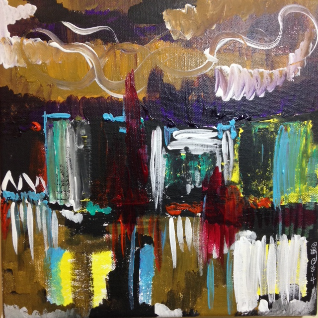 City at Night- Tribute to Joan Mitchell Linda Cleary 2014 Acrylic on Canvas