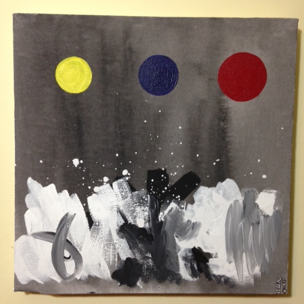 Primary Disks- Tribute to Adolph Gottlieb Linda Cleary 2014 Acrylic on Canvas