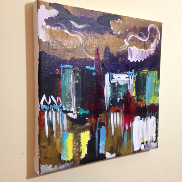 Side-View City at Night- Tribute to Joan Mitchell Linda Cleary 2014 Acrylic on Canvas