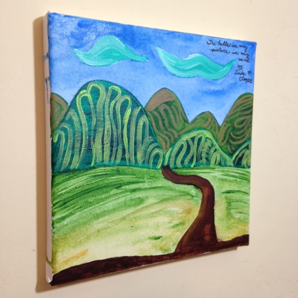 Side-View The Hills in my picture in my mind- Tribute to Joseph Yoakum Linda Cleary 2014 Acrylic on Canvas
