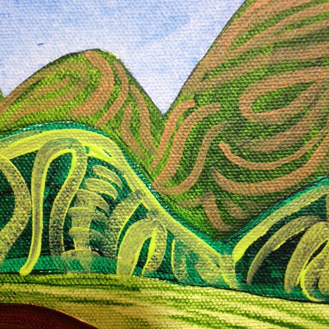 Close-Up 3 The Hills in my picture in my mind- Tribute to Joseph Yoakum Linda Cleary 2014 Acrylic on Canvas