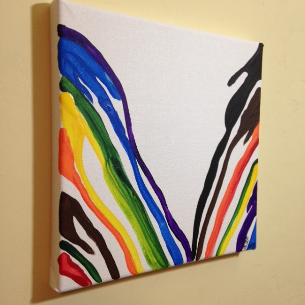 Side-View Gamma Rainbow- Tribute to Morris Louis Linda Cleary 2014 Acrylic on Canvas