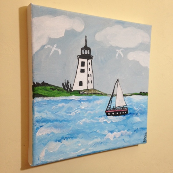 Side-View Sailing by the lighthouse- Tribute to Alfred Wallis Linda Cleary 2014 Acrylic on Canvas