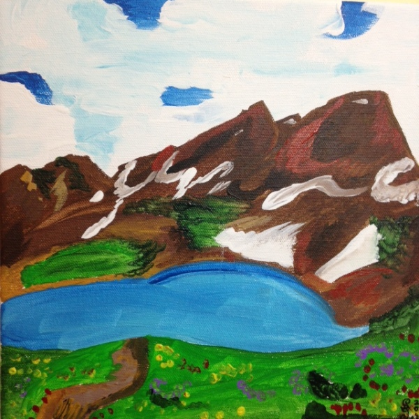 Mountain Landscape- Tribute to Othon Friesz Linda Cleary 2014 Acrylic on Canvas