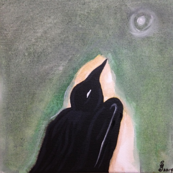 Moon Raven- Tribute to Morris Graves Linda Cleary 2014 Acrylic on Canvas