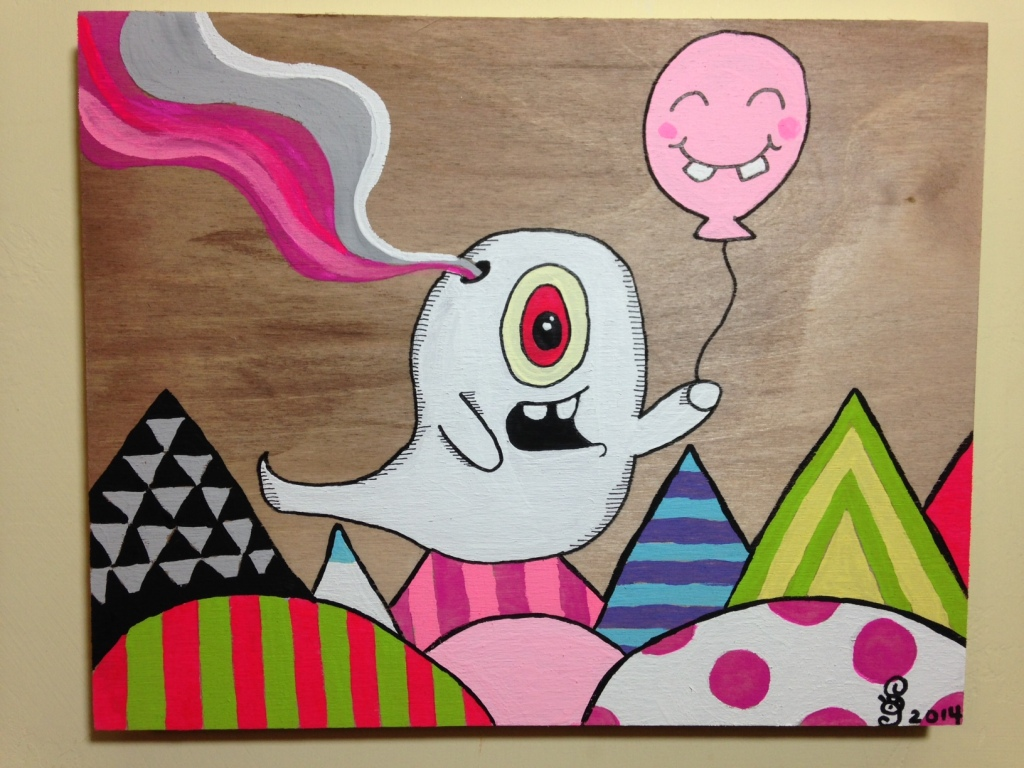 Ghost Dude- Tribute to Buff Monster Linda Cleary 2014 Acrylic on Wood Panel