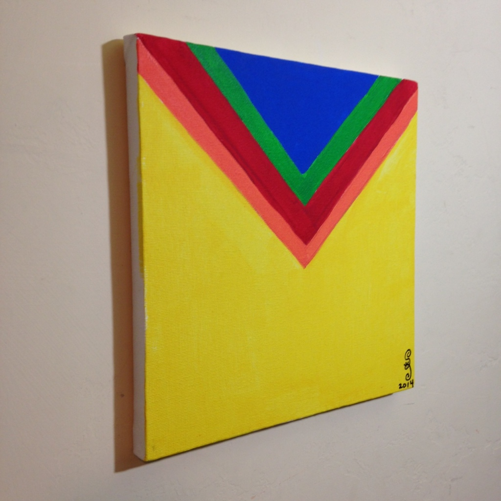 Side-View Rainbow Chevron- Tribute to Kenneth Noland Linda Cleary 2014 Acrylic on Canvas