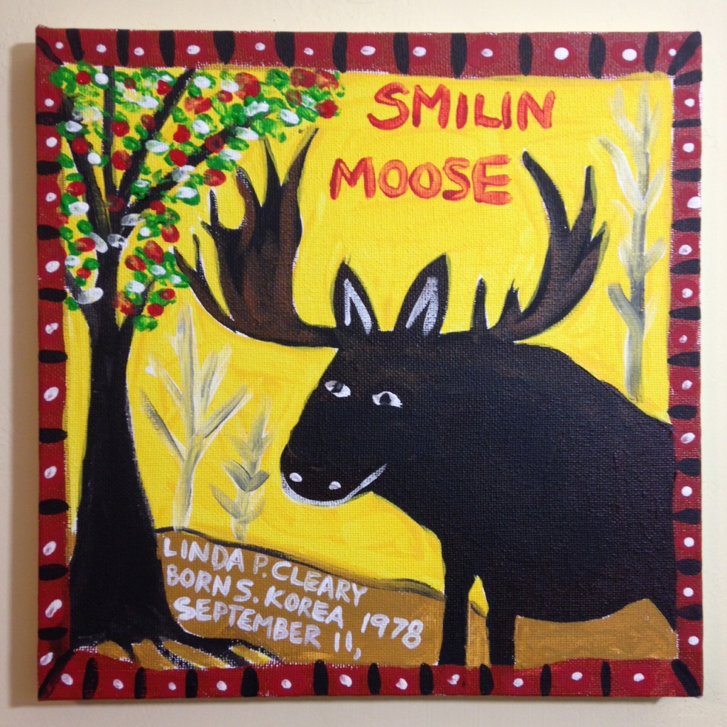 Smilin Moose- Tribute to William Hawkins Linda Cleary 2014 Acrylic on Canvas
