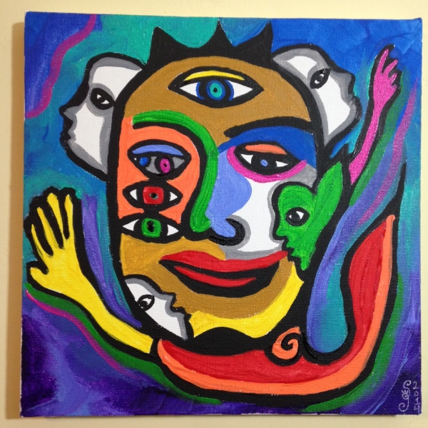 The Eyes See All- Tribute to Raquel Forner Linda Cleary 2014 Acrylic on Canvas