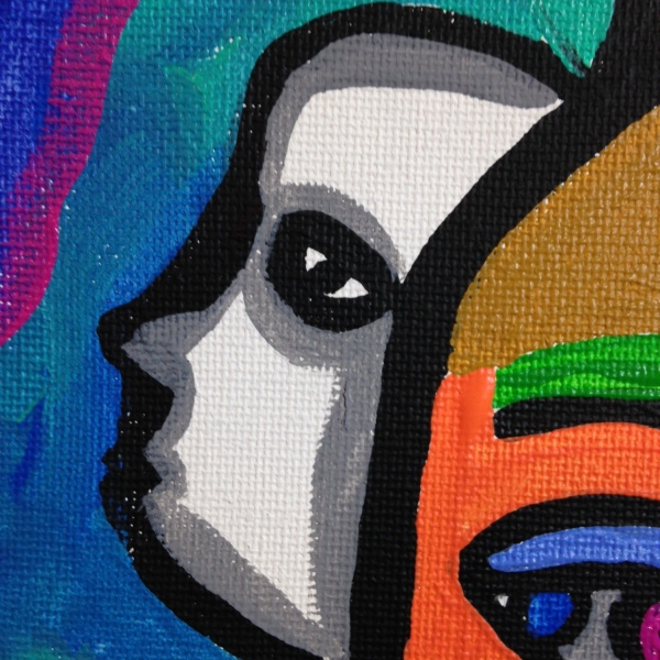 Close-Up 2 The Eyes See All- Tribute to Raquel Forner Linda Cleary 2014 Acrylic on Canvas