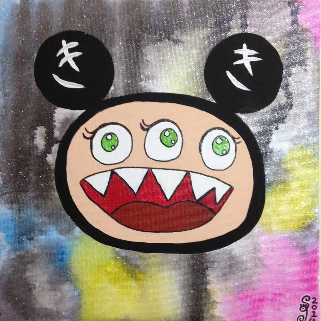 Glitter Time- Tribute to Takashi Murakami Linda Cleary 2014 Acrylic on Canvas